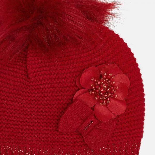 Dievčenský čiapkový 3-set – čiapka s kvetom a nákrčník Mayoral červený | Welcomebaby.sk