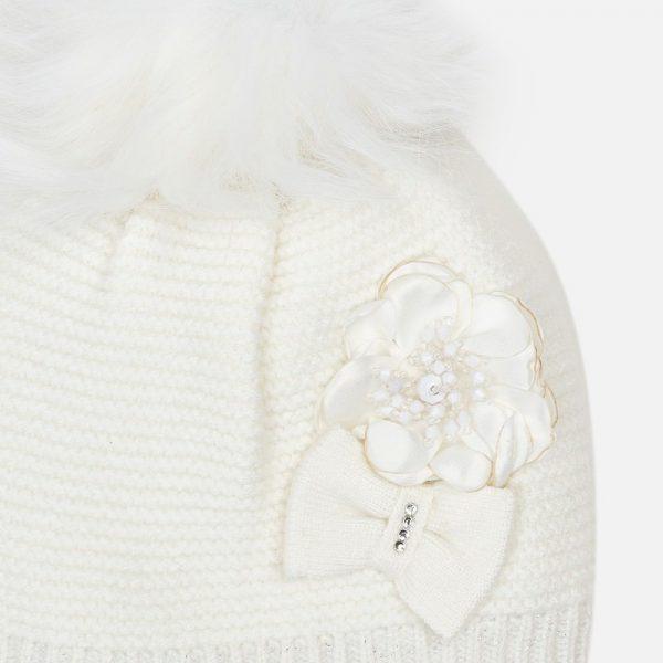 Dievčenský čiapkový 3-set - čiapka s kvetom a nákrčník Mayoral biely | Welcomebaby.sk
