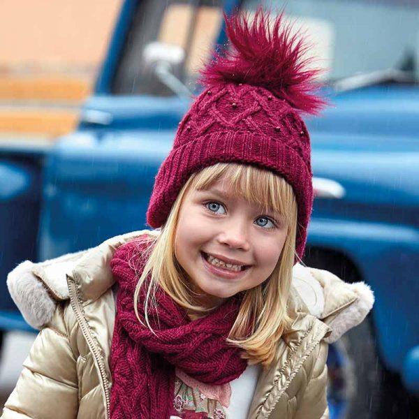Dievčenský čiapkový 3-set Mayoral bordový | Welcomebaby.sk