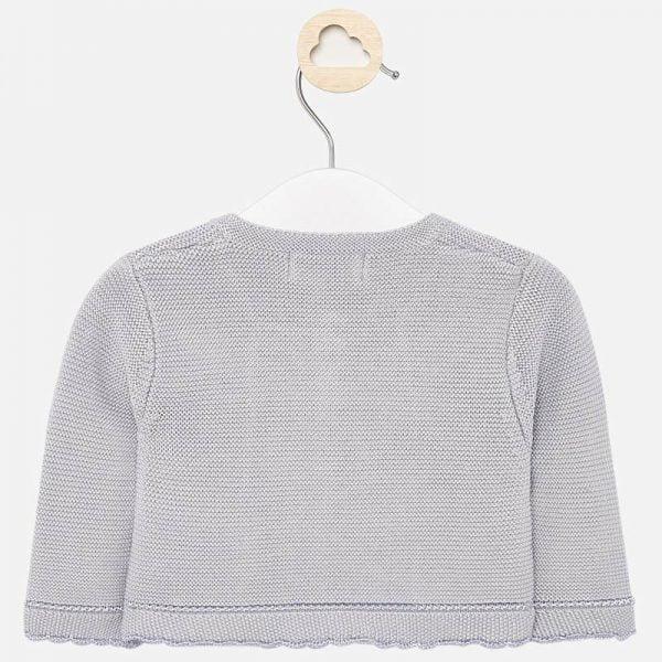 Dievčenský pletený sveter pre novorodencov Mayoral sivý | Welcomebaby.sk