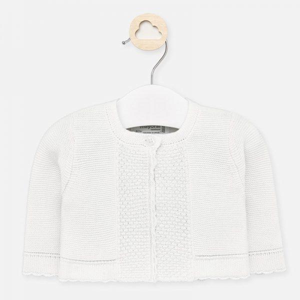 Dievčenský pletený sveter pre novorodencov Mayoral biely | Welcomebaby.sk