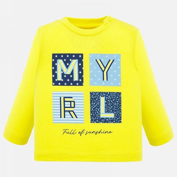 Chlapčenské tričko s dlhým rukávom a písmenami Mayoral žlté | Welcomebaby.sk