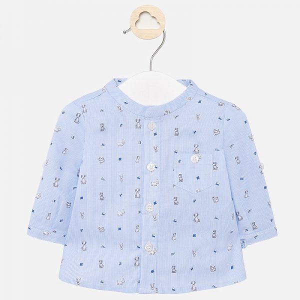 Chlapčenská košeľa s dlhým rukávom a psíkmi newborn Mayorl modrá | Welcomebaby.sk