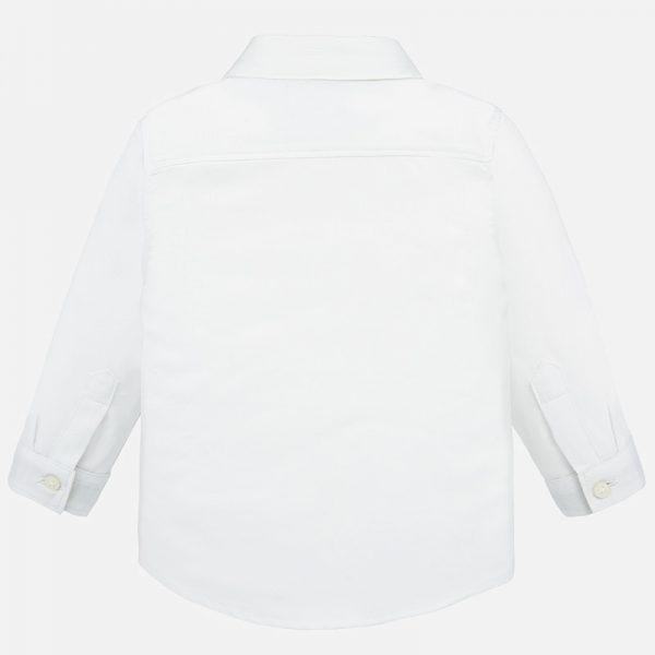 Chlapčenská košeľa s dlhým rukávom a motýlikom baby boy Mayoral biela | Welcomebaby.sk