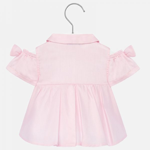 Blúzka bez ramien s mašľou newborn Mayoral baby ružová | Welcomebaby.sk