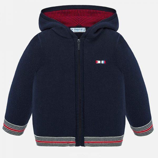 Chlapčenský sveter na zips s kapucňou Mayoral tmavomodrá | Welcomebaby.sk