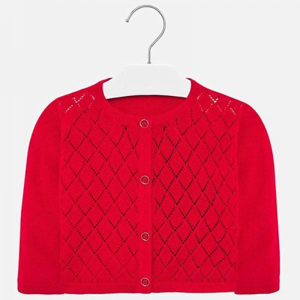 Dievčenský štruktúrovaný sveter na gombíky Mayoral červený | Welcomebaby.sk