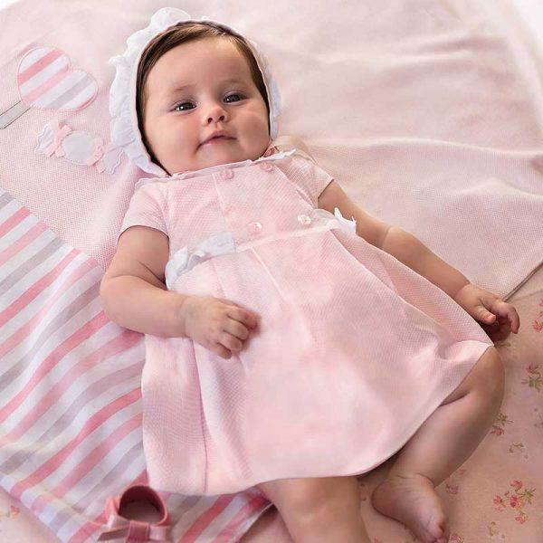 Šaty s čiapkou a nohavičkami Mayoral newborn ružové | Welcomebaby.sk