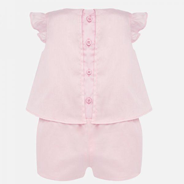 Kraťasový overal s volánmi Mayoral newborn baby ružová | Welcomebaby.sk