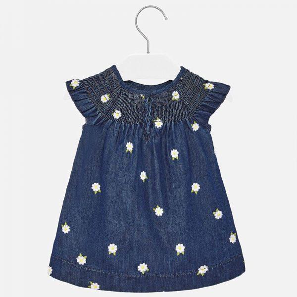 Rifľové šaty s kvetmi newborn Mayoral modré | Welcomebaby.sk