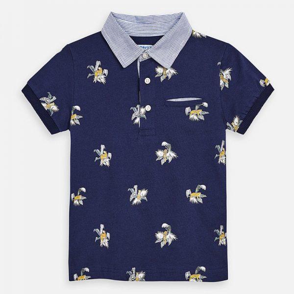 Chlapčenské polo tričko s vreckovkou potlač tiger Mayoral tmavomodré | Welcomebaby.sk