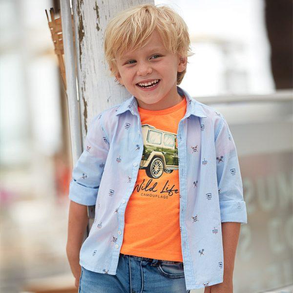 Bavlnená košeľa s potlačou padel surf a palmy Mayoral modrá | Welcomebaby.sk