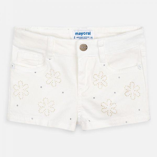 Dievčenské kraťasy s aplikáciou kvet Mayoral biele | Welcomebaby.sk