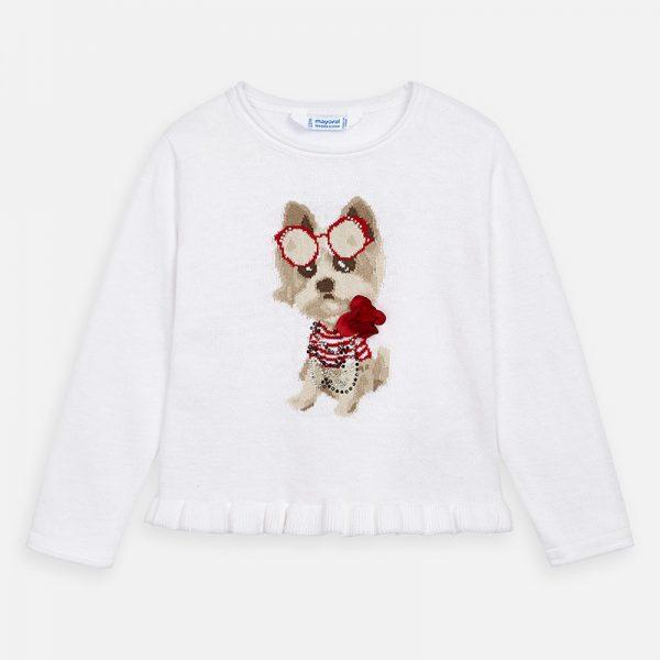 Dievčenský bavlnený sveter so psíkom a 3D kvetom Mayoral biely | Welcomebaby.sk