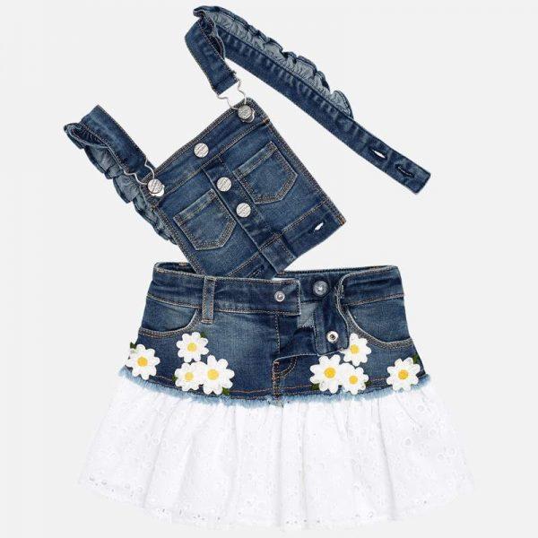 Rifľová sukňa na traky s kvetmi a vyšívanou sukňou mini girl Mayoral modrá   Welcomebaby.sk
