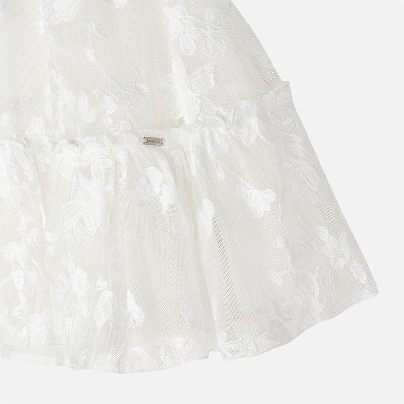 Vyšívané tylové sieťované šaty s kvetmi Mayoral biele | Welcomebaby.sk
