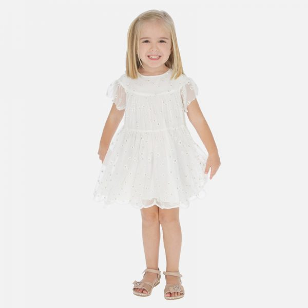 Sieťované šaty s kvetmi Mayoral biele | Welcomebaby.sk