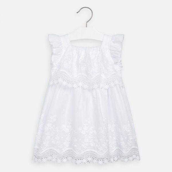 Vyšívané šaty s volánovými rukávmi Mayoral biele | Welcomebaby.sk