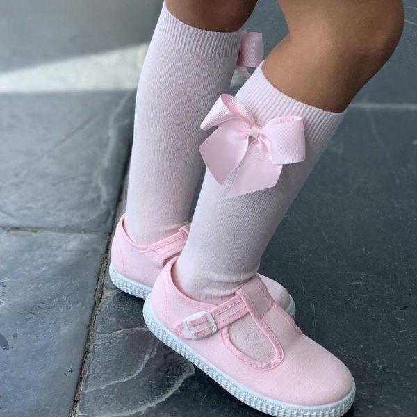 Bavlnené podkolienky s patentom a mašľou na boku Cóndor baby ružová | Welcomebaby.sk