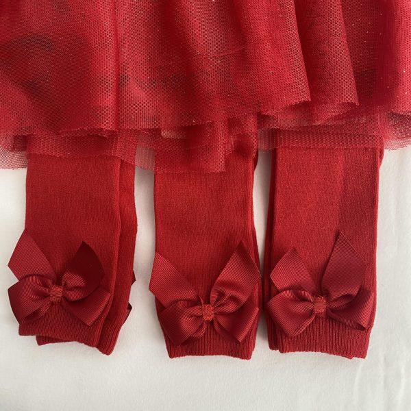 Bavlnené podkolienky s patentom a mašľou na boku Cóndor červené | Welcomebaby.sk