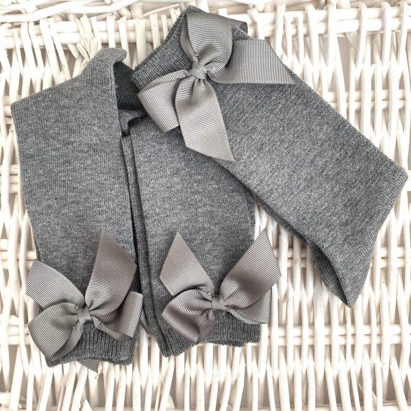 Bavlnené podkolienky s patentom a mašľou na boku Cóndor sivé   Welcomebaby.sk