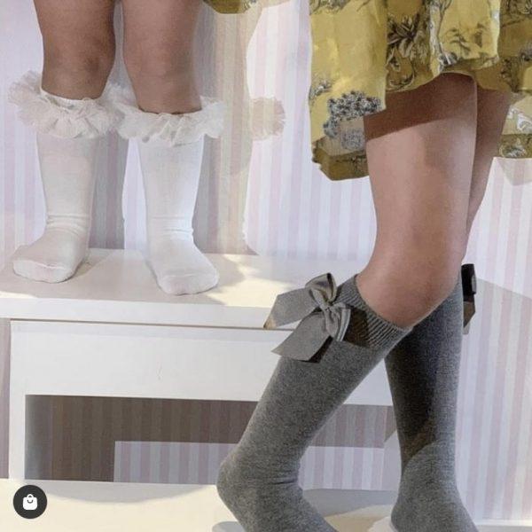 Bavlnené podkolienky s patentom a mašľou na boku Cóndor sivé | Welcomebaby.sk