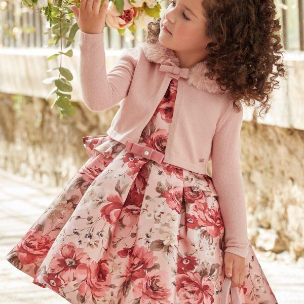 Šaty s veľkými kvetmi, opaskom a volánmi na boku Abel & Lula rose | Welcomebaby.sk
