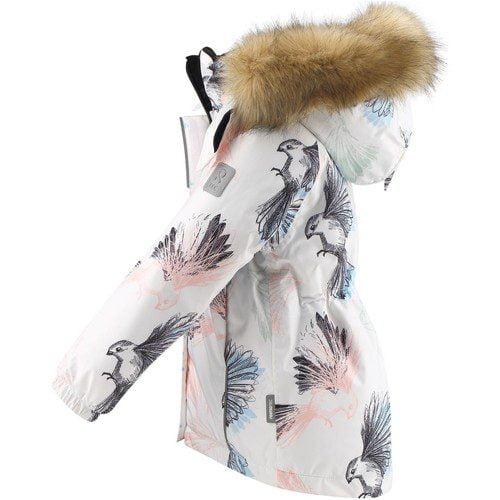 Dievčenská zimná bunda s membránou a vtákmi Reima Kiela biela | Welcomebaby.sk