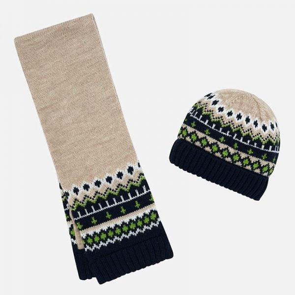 Chlapčenská pletená čiapka a šál Mayoral krémová | Welcomebaby.sk