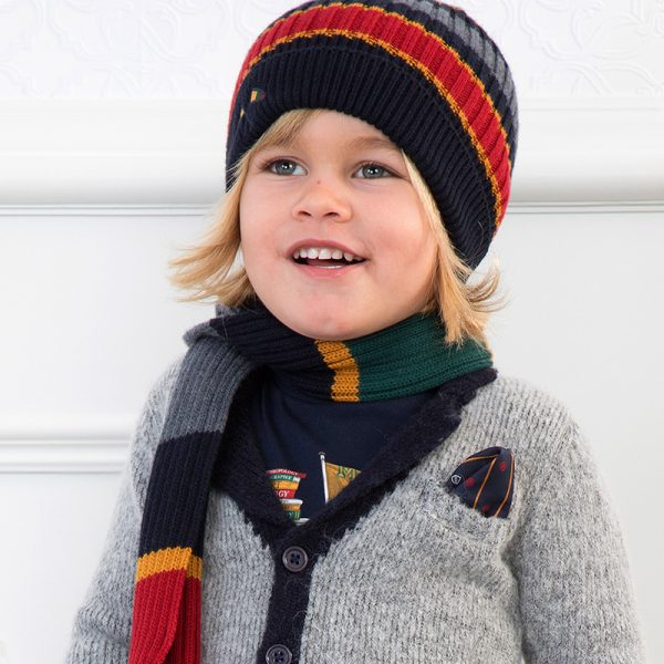 Chlapčenská pruhovaná čiapka a šál Mayoral sivomodrá | Welcomebaby.sk