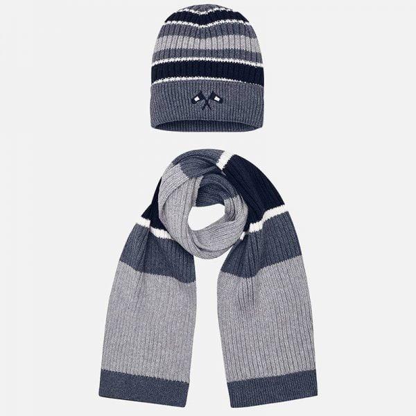 Chlapčenská pruhovaná čiapka a šál Mayoral sivá | Welcomebaby.sk