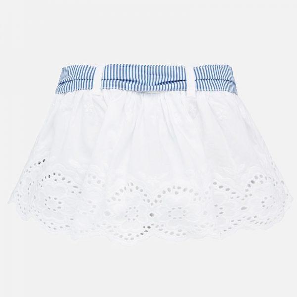 Vyšívaná sukňa s opaskom baby Mayoral biela | Welcomebaby.sk