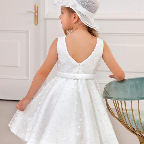 Bodkované svadobné šaty na hrubšie ramienka Abel & Lula biele | Welcomebaby.sk