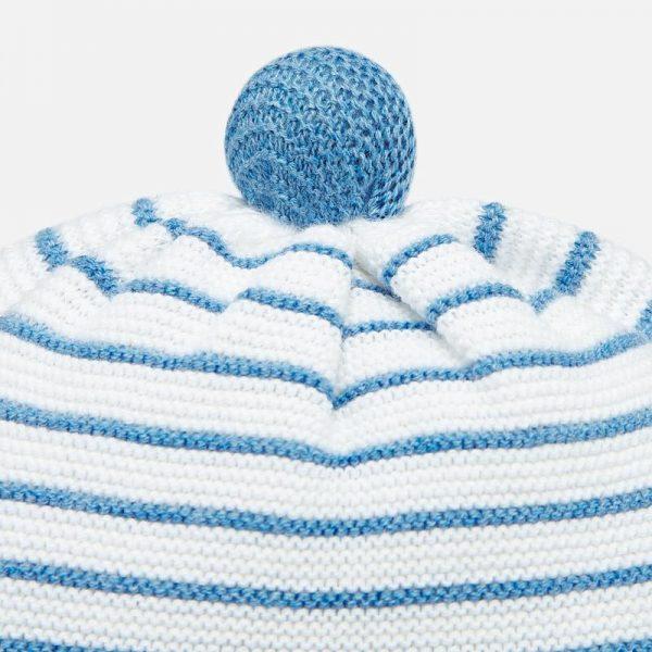 Chlapčenská pletená pruhovaná čiapka newborn Mayoral svetlomodrá | Welcomebaby.sk
