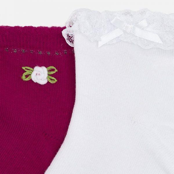 Dievčenské ponožky s čipkou Mayoral červená | Welcomebaby.sk