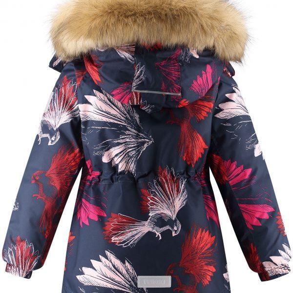 Dievčenská zimná bunda s membránou a vtákmi Reima Kiela modrá | Welcomebaby.sk