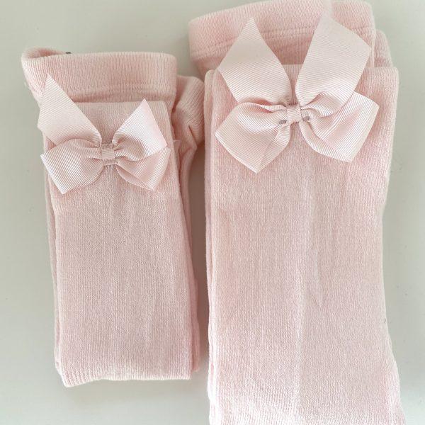 Klasické pančuchy so saténovou mašľou Cóndor baby ružová   Welcomebaby.sk