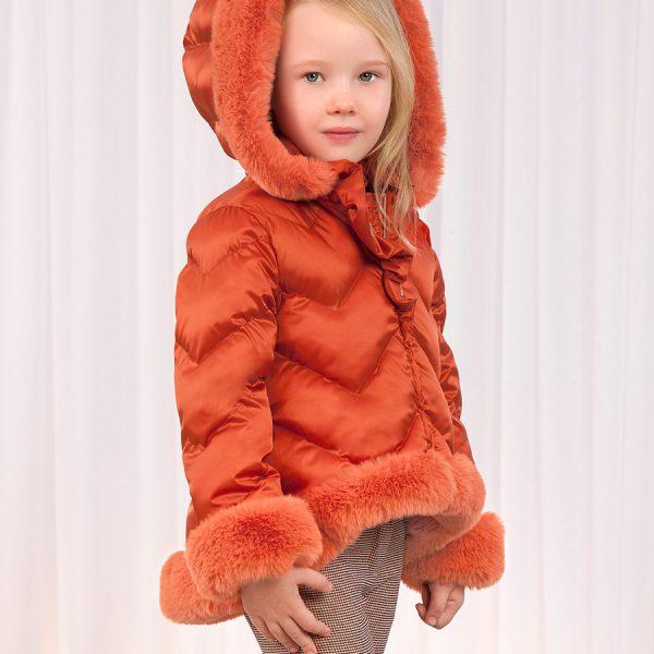Dievčenská bunda s kožušinou a kapucňou Abel & Lula oranžová | Welcomebaby.sk