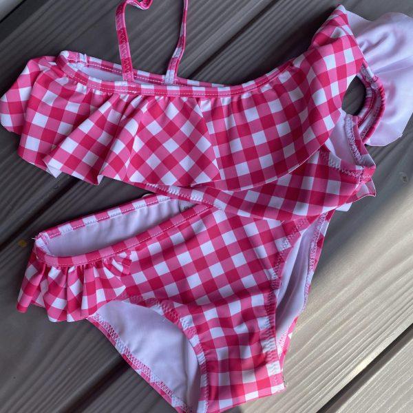 Kockované dvojdielne plavky s volánom Mayoral ružové   Welcomebaby.sk