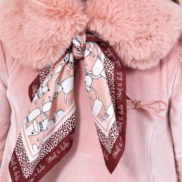 Kožušinový šál s ružovou šatkou so psíkmi Mayoral ružová | Welcomebaby.sk
