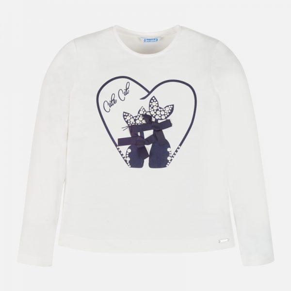 Dievčenské tričko s dlhým rukávom a potlačou mačiek s perlami Mayoral bieločierne | Welcomebaby.sk