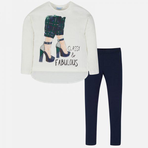 Dievčenské legíny s tričkom a potlačou topánky na opätku s kamienkami Mayoral modré | Welcomebaby.sk