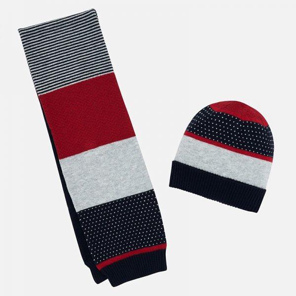 Chlapčenská pruhovaná čiapka a šál Mayoral červenomodrá | Welcomebaby.sk