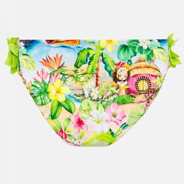 Plavkové nohavičky s farebnými kvetmi Mayoral zelené | Welcomebaby.sk