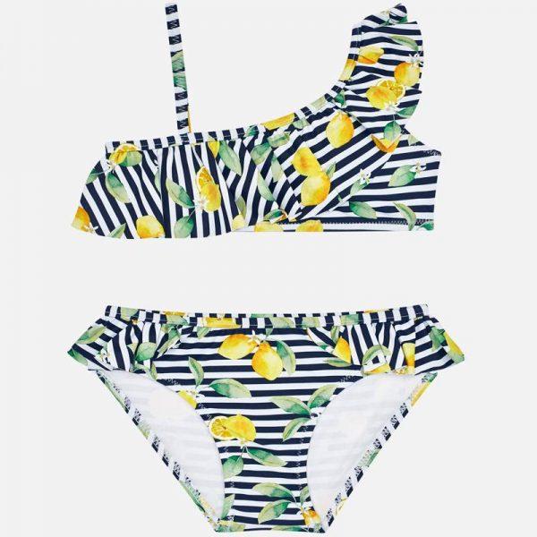Dvojdielne pruhované plavky s citrónmi Mayoral tmavomodré | Welcomebaby.sk