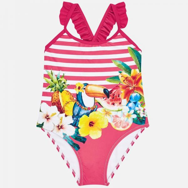 Pruhované plavky s ovocím, kvetmi a papagájom Mayoral červená | Welcomebaby.sk