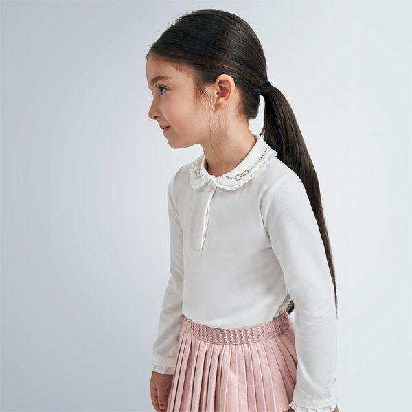Dievčenské polo tričko s golierom a dlhým rukávom Mayoral biele   Welcomebaby.sk