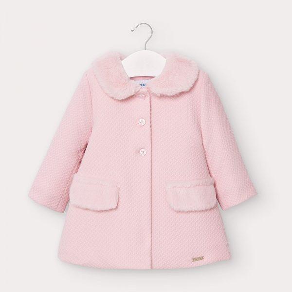 Dievčenský štruktúrovaný tkaný kabát s kožušinou Mayoral baby ružový | Welcomebaby.sk