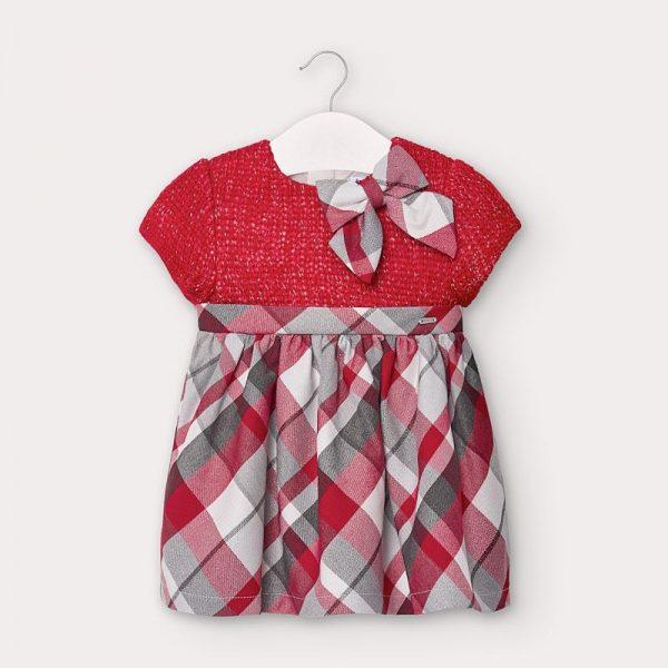 Kárované kombinované šaty s krátkym rukávom newborn Mayoral červené   Welcomebaby.sk