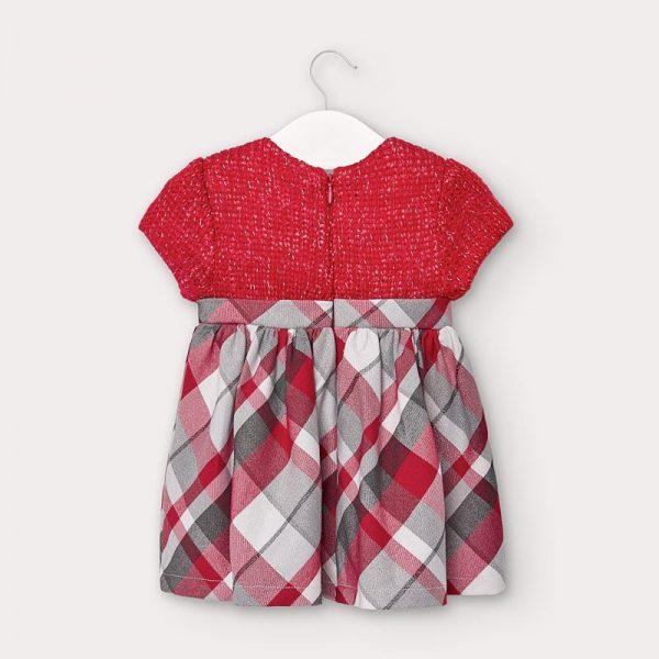 Kárované kombinované šaty s krátkym rukávom newborn Mayoral červené | Welcomebaby.sk